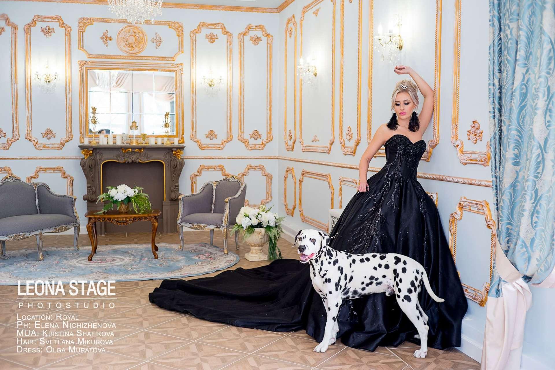 Девушка в черном платье с Далматинцем